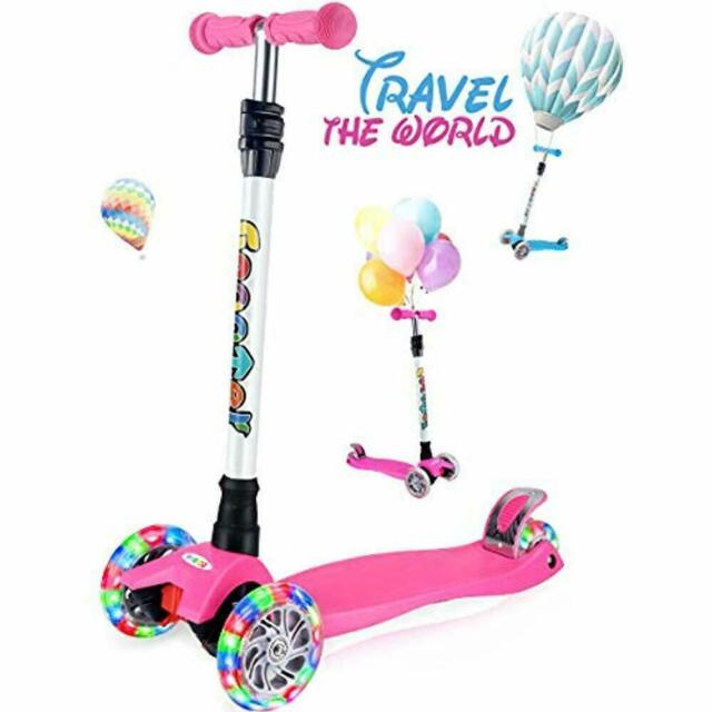 4 Adjustable Height Kick Scooter for Kids 3 Wheel Scooter Lean to Steer w //LED