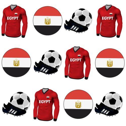 PRECUT Edible Egypt Football Shirt Flag Cupcake Toppers Cake Decorations