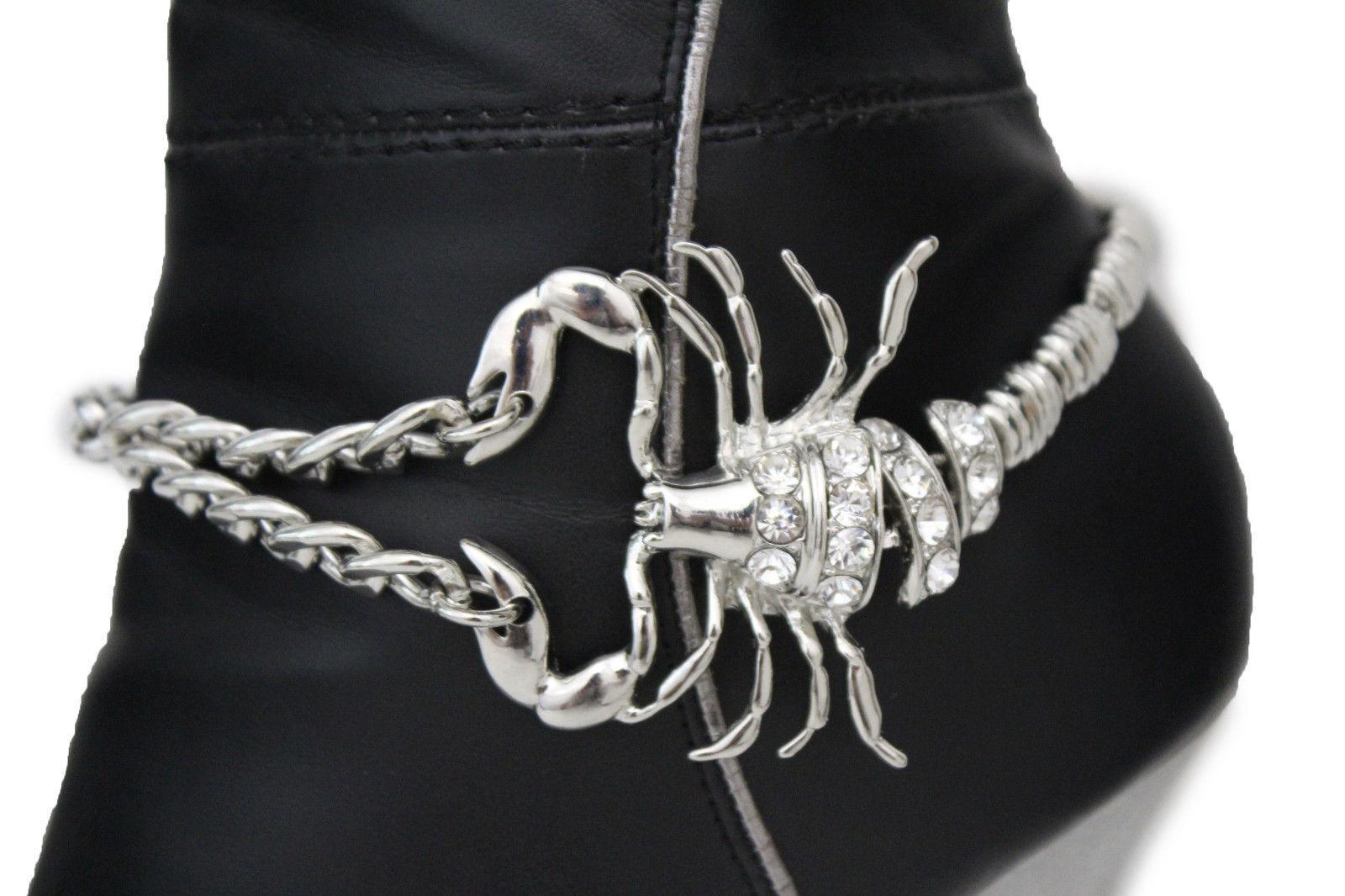Women Boot Bracelet Silver Metal Chain Bling Fancy Shoe Charm Scorpion Flashy
