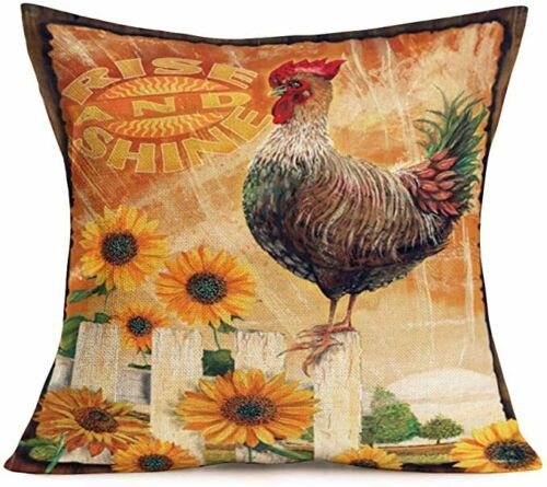 Retro Style Farm Crop Animals Decorative Printing Sofa Pillow Case Cushion Cover