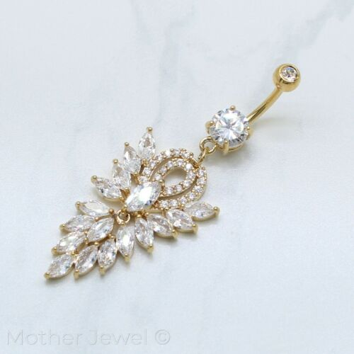 Details about  /SIMULATED DIAMOND CHANDELIER LONG DANGLE BELLY NAVEL YELLOW GOLD SILVER IP RING