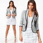 Womens Nice Tunic Volume Sleeve Suit Bodycon Blazer Coat Jacket Outerwear Gray