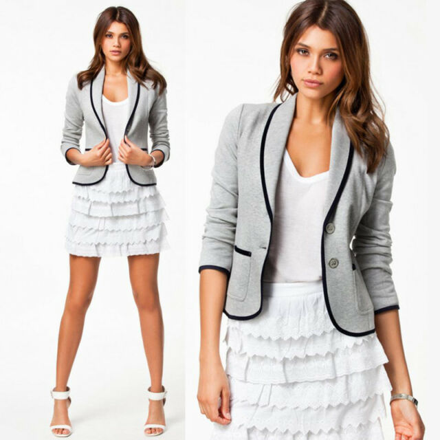 Womens Slim Basic Short Sleeve Casual Suit Turn-down Coll Jacket Blazer Coat