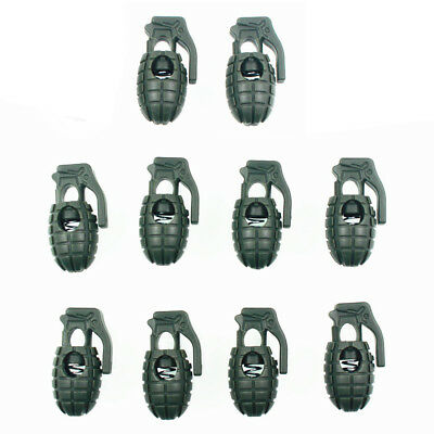 Lot 10x Grenade Shoelace Buckle Stopper Rope Clamp Paracord Cord Spring Lock