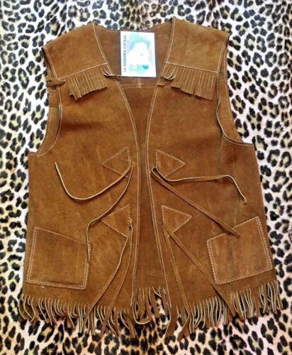 Vintage fringe feather suede leather vest Boho Hippie style brown vest Women/'s suede waistcoat Western cowboy pinup vest Rockabilly S M size