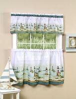 Hamptons Lighthouses Beach Nautical Ocean 36L Tiers Valance Set Kitchen Curtains