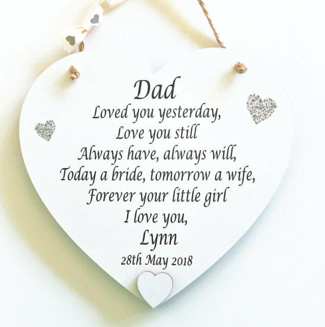 Father Of The Bride Gift Thank You Heart Dad Wedding Poem Plaque
