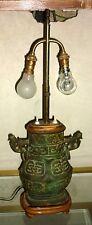 Curieux Vase chinois bronze monté en lampe Chine ( Dynastie ZHOU XI Yan Huan )