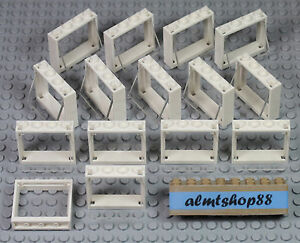 LEGO - 1x4x3 White Windows w/ Trans Clear Glass Pane Lot Part #60594 House Bulk