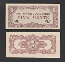 Malaya Japanese (JIM) 5 Cents 1942 Prefix #MQ - UNC
