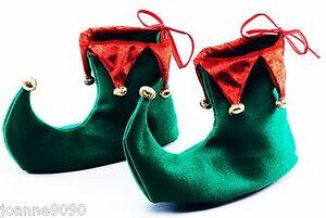 lujo verde y rojo elfo Bufón Duende Zapatos Botas Disfraz de Navidad