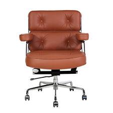 Tan Genuine Leather Executive Chair Office Chair Aluminium Base Swivel
