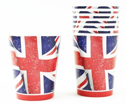Union Jack Pack de 8 petits gobelets en papier Mariage Royal Football Party Tableware GB