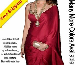 Gorgeous & Elegant Satin Georgette Silk Sari Saree Blouse Material Included