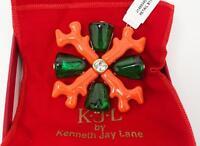 Kenneth J. Lane Kjl Coral Enamel, Sea Glass & Rhinestone Brooch, Pouch & Box