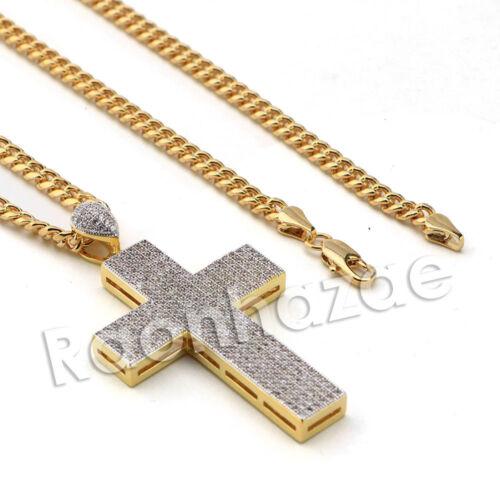 Laboratoire Diamant Micro Pave Or PT 2Pac Pendentif Croix avec Miami Cubain Chaîne B24G