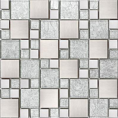 1 SHEETS Silver Glass & Brushed Stainless Steel Mosaic Tiles Random Sheet MT0048