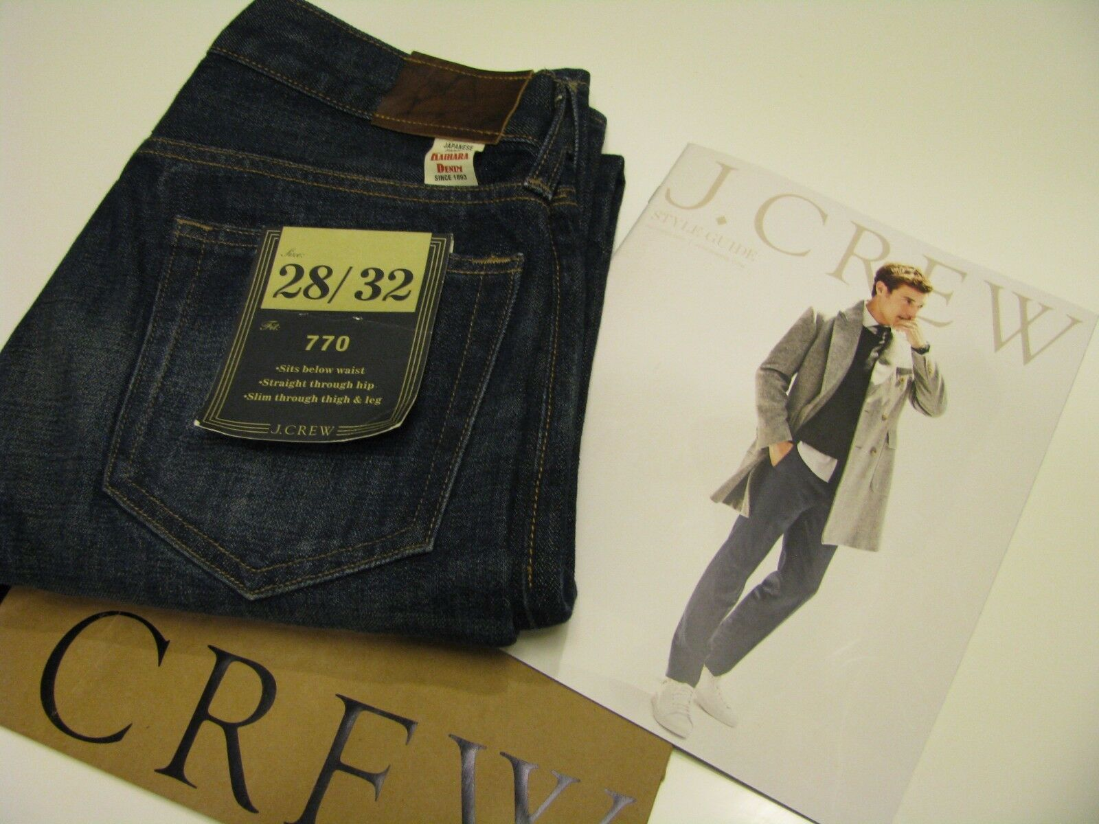 NWT J.CREW 770 JAPANESE DENIM JEAN IN VINTAGE DARK INDIGO WASH SZ 28  32