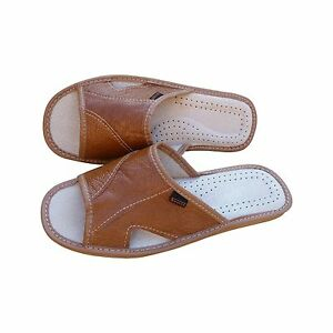 Mens Leather Slippers Slip On Mules Shoes Sandals Black Brown Size 6-11 UK