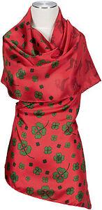 Trachten-Sciarpa-Rosso-100-SETA-SILK-QUADRIFOGLIO-Sciarpa-Scarf-Red-foulard-echarpe