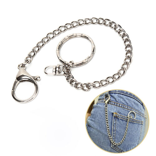 18cmUnisex Silver Metal Biker Rock Punk Wallet Chain Jeans Link Waist KeyChainRD