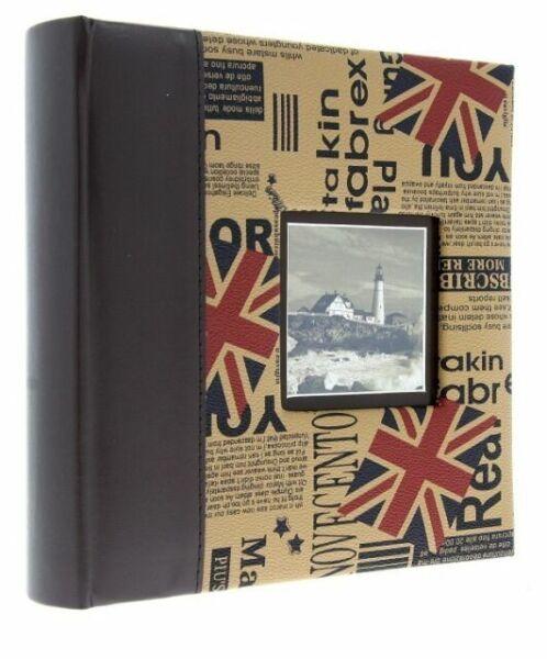 "Brown Eco Leather Slip In Photo Album Holds 200 6/"" x 4/"" Photos Memo Gift UK"