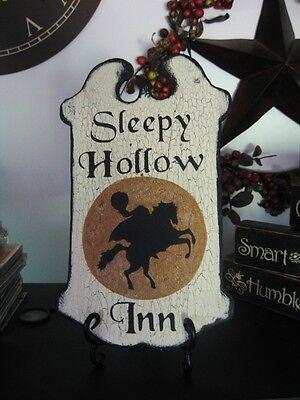 Primitive Halloween Sign SLEEPY HOLLOW INN Headless Horseman Gold Moon Tavern