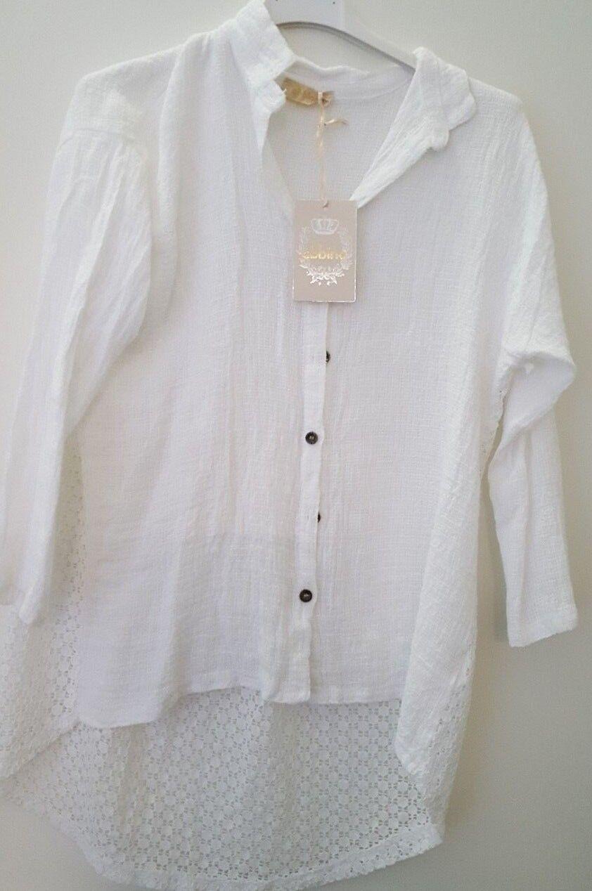 Blause Shirt weiß extravagant  italy Style 3 4 Arm Gr. M abbino