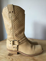 FAITH LADIES BEIGE LEATHER MID CALF BOOTS UK4 EUR37