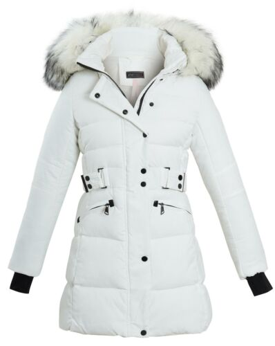 Long Faux Fur Trim Hood Belted Quilted Jacket Puffer Womens Coat Sizes UK 8-16