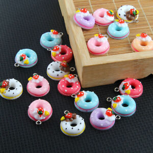 Color-22-17mm-10X-Charm-Jewelry-Doughnut-Bread-Cake-Resin-Pendant-Findings-Mixed