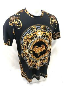 Homme-prestigieux-a-manches-courtes-Black-Gold-Lion-Tasse-Silky-Shirt-feuille-d-039-or-103-NEUF