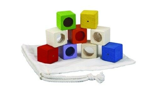 baby toddler sensory building cubes NEW PlanToys Wooden Activity Blocks