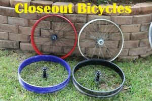 Silver-Black-Red-Blue-Fat-Tire-Cruiser-Bicycle-Front-Wheel-26-034-X4-0-034-Rim