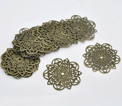 Pop 50 Bronze Tone Filigree Flower Wraps Connectors 46mm