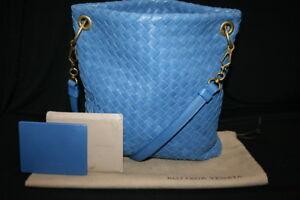 6f70dc66a9 Image is loading BOTTEGA-VENETA-Blue-Nappa-Intrecciato-Crossbody-Bag