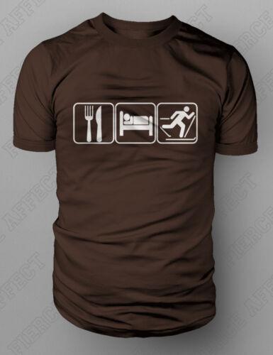 Eat Sleep Ski Tshirt Skiing Downhill Cross-country XC Touring T-shirt M-XXL NEW
