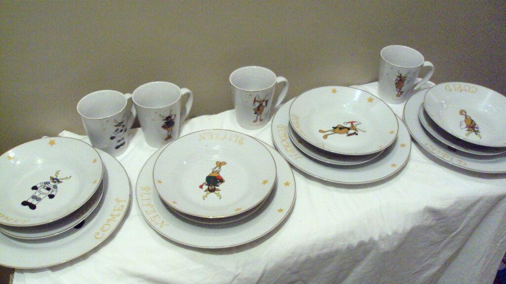 Holiday Xmas Reindeer 16-Piece Dinnerware Set - Comet, Cupid , Blitzen, Rudolph