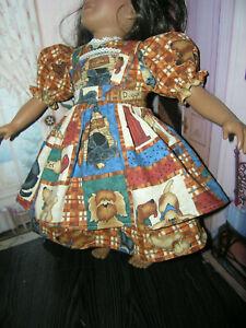 Plaid-Dress-Puppy-Dog-Print-Apron-2-piece-Dress-23-034-Doll-clothes-fits-My-Twinn