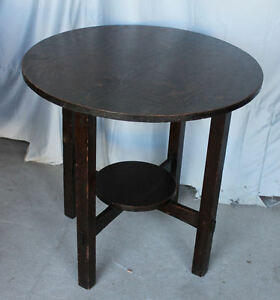 Antique arts and crafts mission oak lamp table small round table image is loading antique arts and crafts mission oak lamp table aloadofball Images