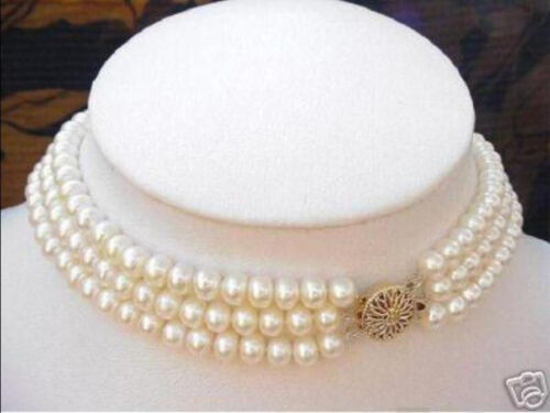 3 ROWS 7-8MM White Akoya Cultured Pearl Choker Necklace 16-18/'/'