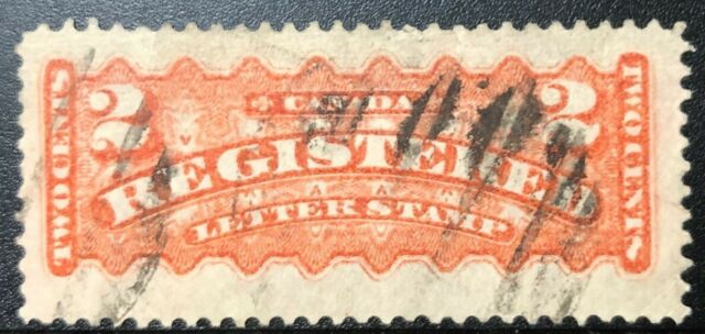 CANADA 1875 F1i REGISTRATION STAMP ORANGE RED USED