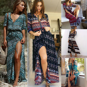 Sexy-Floral-Long-Maxi-Boho-Women-Dress-Summer-3-4-Sleeve-Holiday-Beach-Sundress