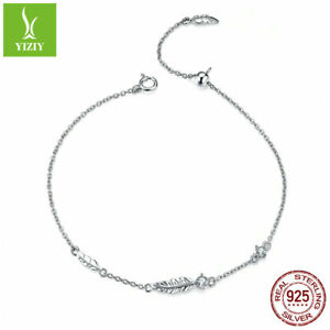 The-Feather-925-Sterling-Silver-Bracelet-Platinum-Plated-CZ-Chain-Jewelry-Gifts