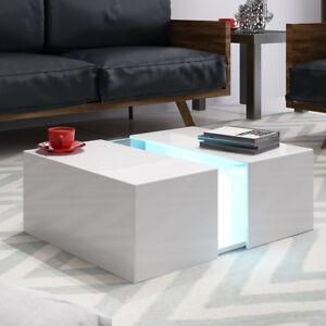 Panana Led Couchtisch Weiß Hochglanz Loungetisch Wohnzimmer Tisch
