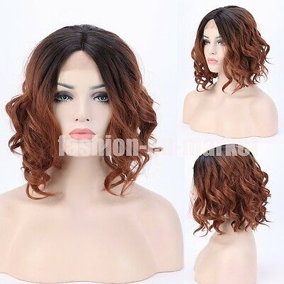 Long Wave Bob Wig Black Synthetic Lace Front Wig Heat Resistant Natural Hair Wig
