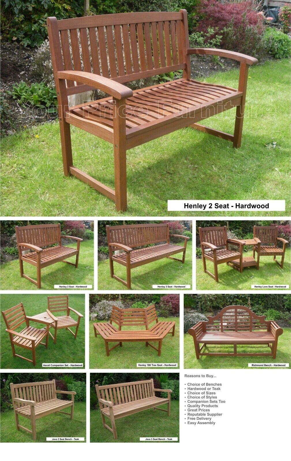 Henley Hardwood 3 Seat Garden Bench Great Outdoor Furniture For Your Garden Or Patio