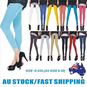 Women-Full-Length-Soft-Strentch-Leggings-S-XXL-Au-Size-8-20-Black-White-Red