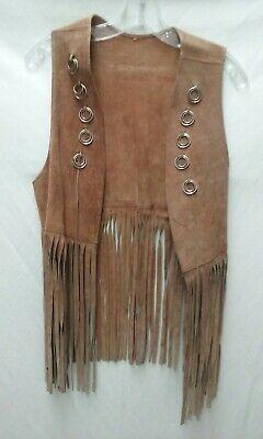 Vintage 1970s 70s SUEDE /& Knit Chevron Vest  Hippie Boho Suede Leather Festival Bohemian
