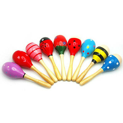 Baby Wooden Sand Hammer Game Maracas Rattle Bell Instruments Toys New Born Toy